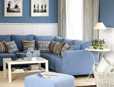 .Love blue sectional!!  The wall colors contrast so well!