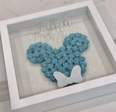 Excited to share this item from my shop: Custom Shadow Box. Custom Shadow Box, Diy Shadow Box, Flower Shadow Box, Flower Boxes, Minnie Mouse, Mouse Ears, Box Frame Art, Rolled Paper Flowers, Box Roses