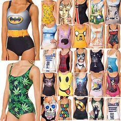 Women Swimwear Print/ Monokini Skinny Bikini Swimsuit ($7.21 CAD + $2 Shipping)