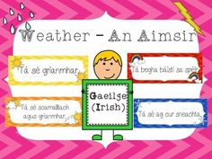 an aimsir - weather posters as gaeilge Irish Language, Classroom, Weather, Posters, Autumn, Learning, Class Room, Fall Season, Studying