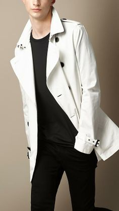 Burberry Brit Short Cotton Twill Trench Coat