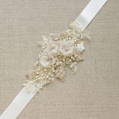 De novia Champagne correa boda vestido faja cinta por LeFlowers