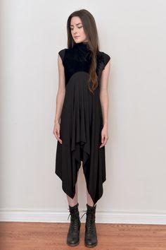 NUIT — Cap Sleeve Waterfall Dress