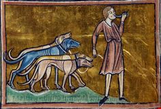 Folio 29v: Detail of the lower register of a two-part miniature of mastiffs guarding sheep.
