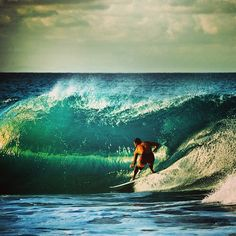 Surfing a beauty of a barrel