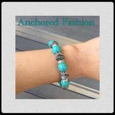Turquoise and Silver Stretch Bracelet 18k plated base metal. Lead Free. Nickel Free. Jewelry Bracelets