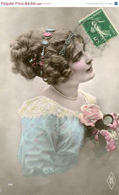 Original French hand tinted vintage real photo postcard - Lady in blue dress with lace - Victorian Paper Ephemera.