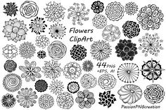 44 Hand Drawn Flowers clipart by PassionPNGcreation on @creativemarket