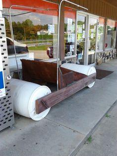Flintstone Car Out Of Plastic Barrels 55 Gallon Drum Drums Barrel
