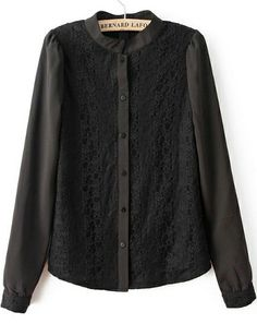 Black Stand Collar Long Sleeve Lace Blouse - Sheinside.com