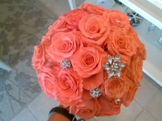 Coral roses with bling!