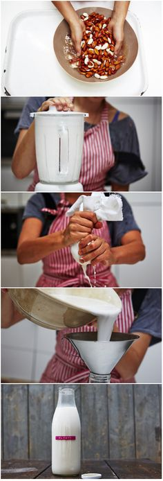 are the pros and cons of plant-based drinks? Basic almond milk recipe from Jamie Oliver's Head Nutritionist and left over pulp into almond flour.Basic almond milk recipe from Jamie Oliver's Head Nutritionist and left over pulp into almond flour. Almond Milk Recipes, Raw Food Recipes, Cooking Recipes, Homemade Almond Milk, Juicer Recipes, Coconut Milk, Yummy Drinks, Healthy Drinks, Healthy Snacks