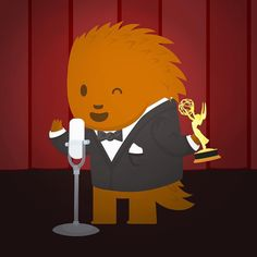 Puck is practicing his award speech. He's already won an #oscar #grammy and a #tony only an #emmy to go. https://instagram.com/p/73OMmsq4rI/