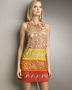 Emilio Pucci Laser-Cut Suede Shift Dress ... looove