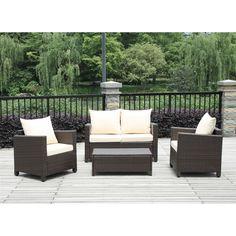 4-Piece Brown Wicker Resin Patio Furniture Set w/ Beige Cushions