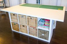 DIY Sewing and Cutting Table - with storage cubbies underneath! Ever since I posted the reveal of my new sewing studio, people have been commenting and emailing me asking about my cutting table. Sewing Room Design, Sewing Room Storage, Sewing Room Organization, Cubby Storage, Craft Room Storage, Sewing Studio, Sewing Rooms, Diy Storage, Studio Organization