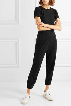 LESET - Pointelle-knit cotton top and cropped pants set Veja Sneakers, White Sneakers, Matching Separates, Cotton Slip, Cropped Pants, Black Cotton, Runway Fashion, Knitting, Casual