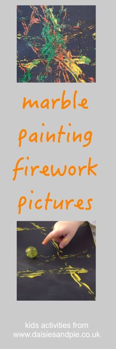 marble painting firework pictures, marble painting technique, marble painting art ideas, bonfire night crafts for kids, kids activities from daisies and pie