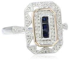 S&G Sterling Silver and 14k Yellow Gold, Blue Sapphire, and Diamond-Accent Art Deco-Style Ring (0.12 cttw, I-J Color, I3 Clarity) - Jewelry - JewelryShop