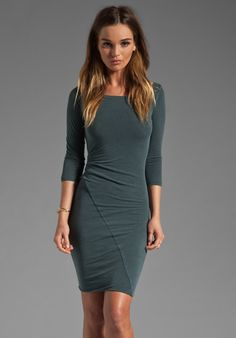 JAMES PERSE Asymmetrical Boat Neck Dress in Field at Revolve Clothing - Free Shipping!