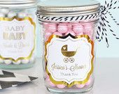 Pink and Gold Baby Shower Mason Jar Favors - Pink and Gold Birthday Party Ideas Personalized Foil Printed Labels & Jars (EB2310FB) set of 12