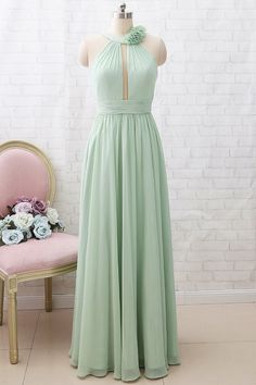 Wedding Party Dresses, Bridesmaid Dresses, Halter Neck, Hemline, Embellishments, Chiffon, Mint, Silhouette, Prom