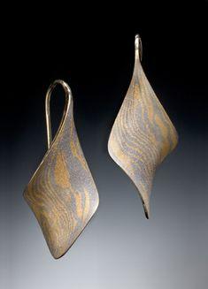anticlastic twist earrings: stephen leblanc: mokume earrings - artful home