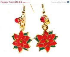 CIJ SALE Goldtone Red Poinsettia Charm Dangle by GirlieGals, $8.00