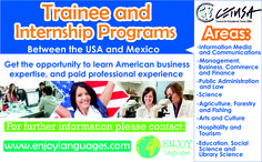 Trainee and Internship Programs between the #USAand #Mexico For more information, contact us. #StudyingAbroad #WorkingAbroad #CETUSA #EnjoyLanguages