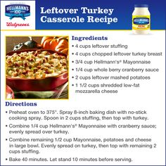 Hellmann's leftover turkey casserole recipe gives everyone an idea on what to do with thanksgiving leftovers instead of turkey sandwiches. Holiday Recipes, Dinner Recipes, Holiday Meals, Dinner Ideas, Casserole Recipes, Casserole Ideas, Leftover Turkey Casserole, Turkey Sandwiches, Turkey Recipes