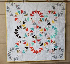 Handmade circle of geese quilt 48 square by thelittledonkeyshop, $450.00
