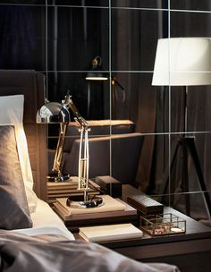 An industrial style work lamp as a bedside lamp with floor lamps in the background Sleeping Nook, Layered Curtains, Work Lamp, Refuge, Relaxation Room, Breakfast In Bed, Bedside Lamp, Home Bedroom, Master Bedroom