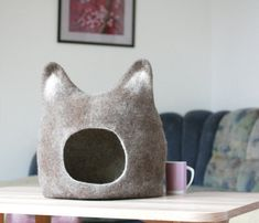 Cat bed - cat cave - cat house - eco-friendly handmade felted wool cat bed - dark brown with natural white - made to order