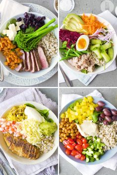 Change up your weeknight dinner ideas with these 4 healthy nourish bowls: Chicken, Tuna & Egg, Steak or Mediterranean. They're so simple to make and have great nutritional value. Healthy Meals, Healthy Food, Healthy Recipes, Steak Spice, Tuna And Egg, Dinner Ideas, Dinner Recipes, Best Food Ever