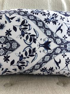 Owen Jones Lumbar // Chinoiserie Pillow // Decorative Pillow // Royal Blue Pillow Chinoiserie, Pillow Inserts, Pillow Covers, Owen Jones, Blue Pillows, Satin Fabric, Lumbar Pillow, Decorative Pillows, Print Patterns