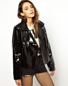shiny vinyl raincoats for women | Image 1 of Evil Twin Deep End Biker Jacket In PVC