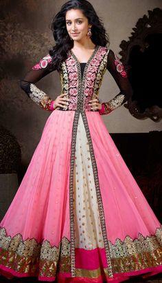 Indian Designer Pink Georgette Churidar Kameez Anarkali Dresses, Dress
