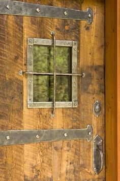 Rustic Gateway Design Take Care Of with Industrial Iron Strap and Large Distressed Nail Heads Great for sliding barn doors, barn door hardware and also other interior doors