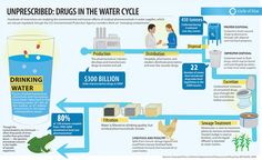 Unprescribed: Drugs In The Water Cycle - Infographic design Heavy Metal, Safe Program, Reverse Osmosis Water System, Mood Stabilizer, Water Experiments, Pharmacy Design, World Water Day, Menopause Symptoms, Medical Terminology