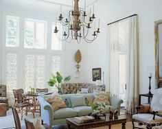 hand carved shutters living room area - all white room!