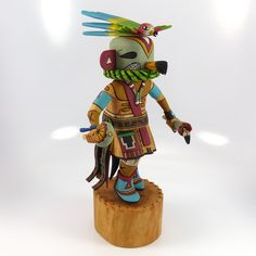 "Parrot Kachina Hand Carved from Cottonwood Root and Hand Painted with Bright Colors. 7.75"" Doll Height, 11"" Overall Height"