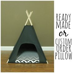 "Cat/Dog Tent Pet Teepee- Small 24"" base- Black Canvas - PICK YOUR PILLOW - Ready Made or Custom Order it - Tenthouse Suite by Vintage Kandy on Etsy, $95.00"