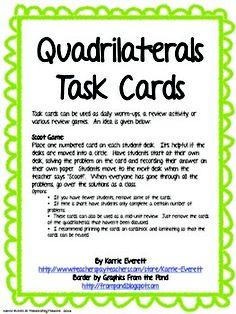 Quadrilaterals Task Cards Square, Rectangle, Rhombus, Trapezoid, Kite, Parallelogram