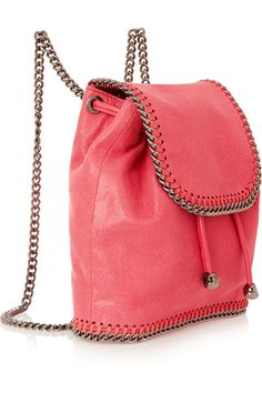 Vibrant bubblegum pink coral faux brushed-leather chain trims mini backpack by Stella McCartney.