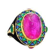 Cartier London Art Deco Egyptian Revival Ruby Ring | From a unique collection of vintage more rings at http://www.1stdibs.com/jewelry/rings/more-rings/