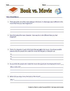 Free Book vs. Movie Worksheet.