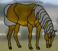 HORSE faux leadlight /stained glass window cling/decal.