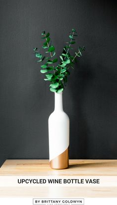 Learn how to make a color-blocked bud vase out of an upcycled wine bottle