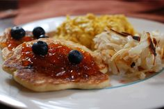 Lemony Cream Cheese Pancakes with Blueberries.     Kudos to Roland Hu for sharing!