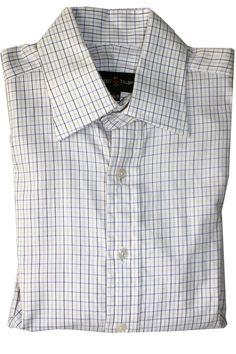 Robert Talbott 15 1/2 x 35 Dress Shirt White Blue Yellow Check French Cuffs #RobertTalbott